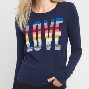 Gap Rainbow Love Navy Crew Neck Sweater NWT